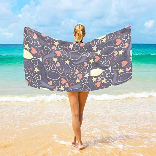 Ahomy Mikrofaser-Strandtuch groß 94 x 188 cm Herz Weinglas Pentagramm Muster Bad Reise Handtücher weich schnelltrocknend für Zuhause, Strand & Schwimmen