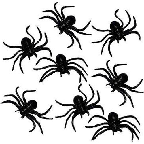 8 schwarze dehnbare Gummi-Spinnen 7cm