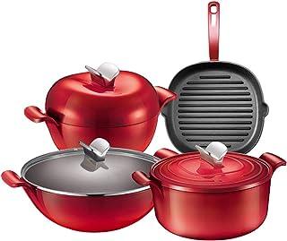 Combinaison de casserole antiadhésive Shabu-shabu, cuisinière binaurale pour approfondir le wok avec un revêtement en céra...