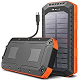 SUNDUO Solar Charger 20000mAh, Solar Power Bank with 3 Outputs, Type-C & USB, IP66 Waterproof External Battery Pack for Camping Outdoor, Portable Charger Power Bank for Most Smartphones, Tablet, GPS
