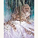 5D DIY Kit completo de pintura de diamante Leopardo de nieve Diamond painting lienzo diamantes imitación cristal bordado de punto de cruz manualidades,para decoración de pared 50x70cm(19.7x27.6in)