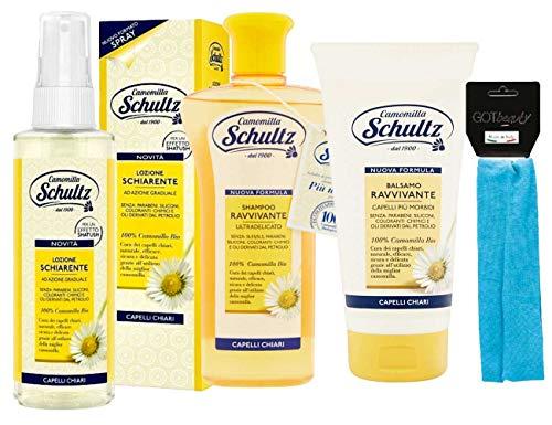 Schultz - linea trattamento cappelli,Lozione Schiarente spray 150ml,Shampoo Ravvivante Ultra delicato,Balsamo Ravvivante Capelli Chiari 200ml più fascia per cappelli elastica