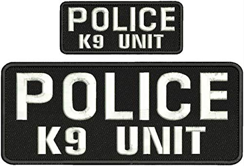 Police K9 Unit Embroidery Patches 4X10 and 2X5 Hook ON Back White Letters by HighQ Store