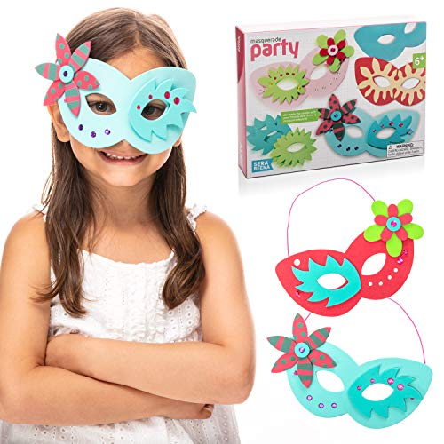 Serabeena Make Your Own Mask Kit - Includes 6 Masquerade Masks to Make and Decorate. A Great Craft Kit for Kids Parties - Arts and Crafts for Girls