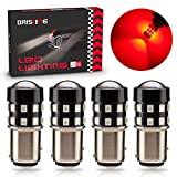 BRISHINE 4-Pack Super Bright 1157 2057 2357 7528 BAY15D LED Bulbs Brilliant Red 9-30V Non-Polarity 24-SMD LED Chipsets with Projector for Brake Tail Lights, Turn Signal Lights