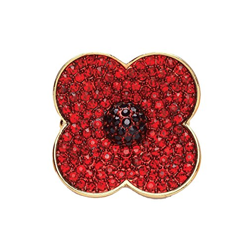 Poppy Pin Badges Brooches Remembranc Red Flower Rhinestone Badges Banquet Enamel Engraved Four Petals Lapel Pin Diamante