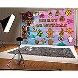 HDビニール7x5ftメリークリスマスの背景写真の背景クリスマスツリークリスマスドライフルーツスノーマンサトウキビシュガースノーフレークフェスティバルパーティー子供赤ちゃんポートレート写真スタジオ