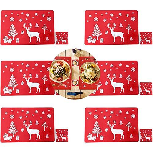 Set di tovagliette natalizie, 6 tovagliette con 6 sottobicchieri in PVC, antiscivolo, resistenti al calore, con fiocchi di neve, albero di Natale e alce stampate