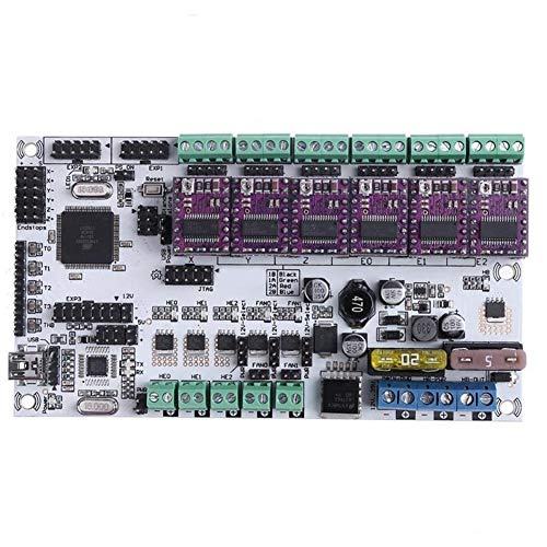 Sjidasj9 3D Printer Controller Board 12V Rumba Plus Upgraded Integrated Mainboard Control Board Support 3 Print Heads With 6pcs DRV8825 Stepper Driver For 3D Printer
