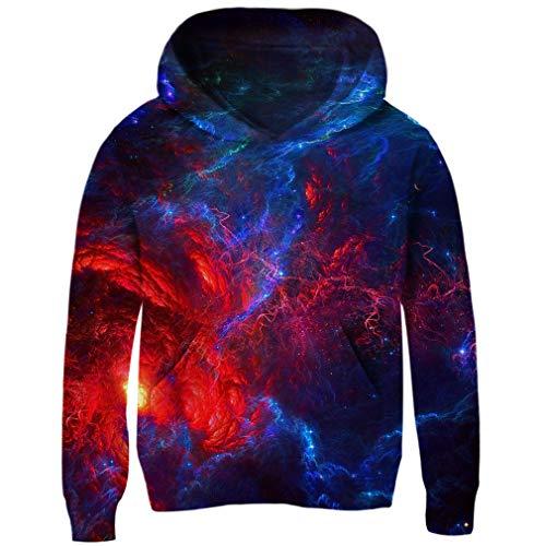 RAISEVERN Jungen Mädchen Hoodie 3D Print Pullover Sweatshirts Mit Kapuze Pullover 4-13Y Lightning Galaxy