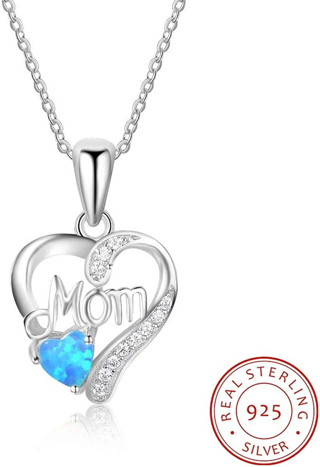 QMM necklace Pendant Best Gift for Mom Heart Shape Necklaces & Pendants bluee with 925 Sterlilng Silver Necklace for Women