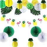 Easy Joy Ananas Mottoparty Deko Set Tropische Blätter Flamingo Fächer Pompoms