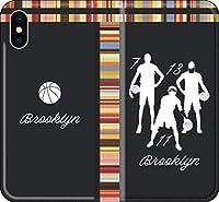 【手帳型 全機種対応】 バスケ iPhone 12 mini pro Max Xperia Galaxy 楽天 UQ Yモバイル Android シルエット スマホケース カバー(アウェイ/ブルックリン:7_11_13番_A) ネッツ 16 iPhone7