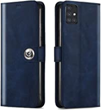 TheGiftKart Genuine Leather Finish Flip Cover Back Case for Samsung Galaxy M51 | Inside Pockets & Inbuilt Stand | Wallet Style | Designer Button Magnet Closure (Blue)