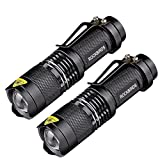 2 Pack Flashlights, ROCKBIRDS LEDFlashlight with Belt Clip, Fluorescent Ring, Zoomable , High