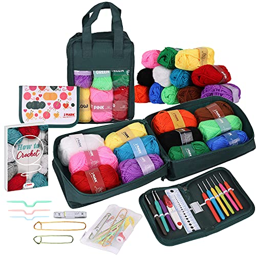 51 Piece Crochet Kit with Yarn Set– Premium Bundle Includes 9 Crochet Hooks, 12 Acrylic Crochet Yarn Balls, 6 Needles, Book, Bags and More – Beginner and Professional Starter Pack for Adults and Kids