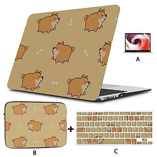Mac Book Pro Accessories Cartoon Cute Animal Pet Shiba Inu Dog Hard Laptop Cases Hard Shell Mac Air 11'/13' Pro 13'/15'/16' With Notebook Sleeve Bag For Macbook 2008-2020 Version