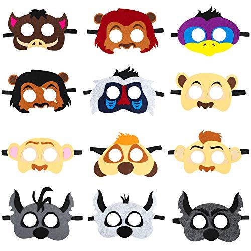 BeYumi 12Pcs Lion King Felt Masks Set for Kids, Safari Jungle Animal Party Favors Supplies, Great Idea for Birthday Costumes Dress-Up | Petting Zoo | Farmhouse | Wild Animal |Jungle Themed Party