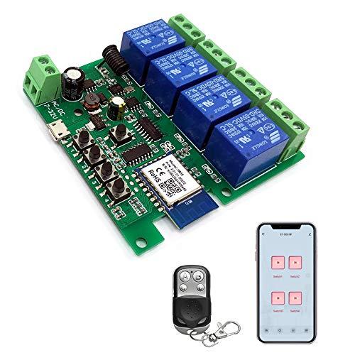 Newgoal 4 canalesWiFi Wireless Smart Switch Módulo de relé de bloqueo automático que avanza lentamente, se aplica al control de acceso Tuya SmartLife APP, con control remoto RF de 433 MHz