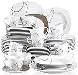 VEWEET Nikita Juegos de Vajillas 60 Piezas de Porcelana con 12 Taza 175 ml, 12 Platillos, 12 Platos, 12 Platos de Postre y 12 Platos Hondos para 12 Personas