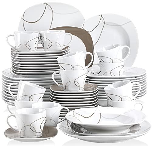 VEWEET Tafelservice 'Nikita' aus Porzellan 60 teilig   Kombiservice beinhatlet Kaffeetassen 175 ml, Untertasse, Dessertteller, Speiseteller und Suppenteller  Komplettservice für 12 Personen