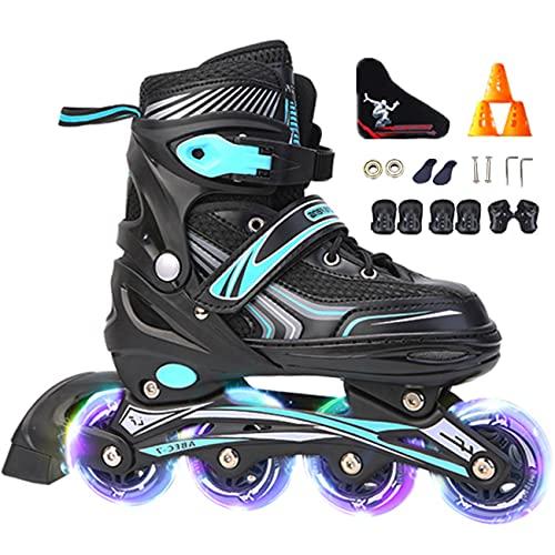 2021 Inliner Kinder, Unisex - Inline-Skates,ABEC-7 Chrome Kugellager,Größe 30-42 Unisex Fitness Skates für Erwachsene Rädern Rollschuhe für Jungen Mädchen Anfänger-blau_S(30-34)