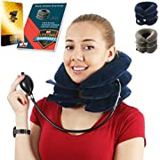 Cervical Neck Traction for Instant Neck Pain Relief | Air Neck Therapy | Adjustable Neck Stretcher Collar Device for Home Traction Spine Alignment (Blue)