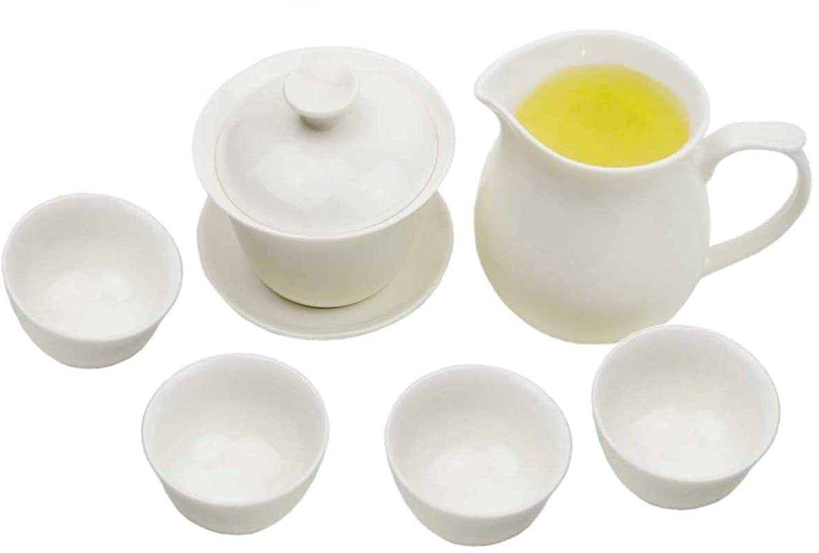 White Porcelain Chinese Gongfu Gaiwan Tea Set (Comprised of a Gaiwan, a Fairness Pitcher and 4 Tea Cups) TS03