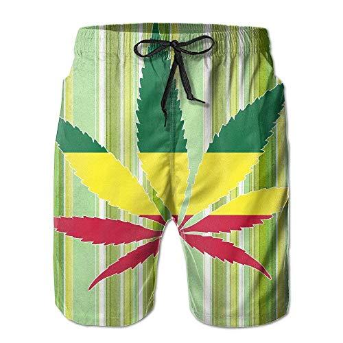 zengdou Badeshorts für Herren,Herren-Badehose Men's Jamaica Flag Weed Reggae Printed Swim Shorts Trunks Comfortable Breathable