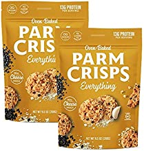 ParmCrisps Party Size Everything Parmesan Cheese Crisps, Keto Gluten Free Snacks, 100% REAL Cheese Crisps, Oven Baked, Gluten Free, Sugar Free, Low Carb, High Protein, Keto-Friendly 9.5 oz (Pack of 2)