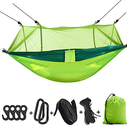 Hieha Camping Hammock with Mosquito Net, Portable Hammocks with Bug Insect Net, Tree Straps & Carabiners for Outdoor Backpacking, Travel (Upgraded Version Easy Assemble The Net)