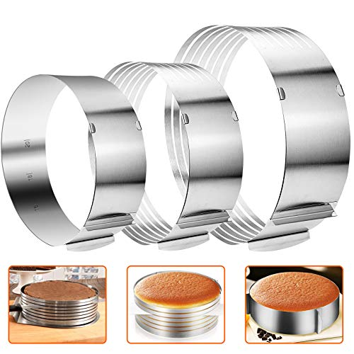 3PCS Adjustable Cake Slicer and Cake Mold 6'-8' & 9.5'-12' 7-Layer Cake Cutter Leveler Stainless Steel Cake Slicing Ring 6.3'-12' Round Mousse Mould DIY Baking Tools for Cake Decor