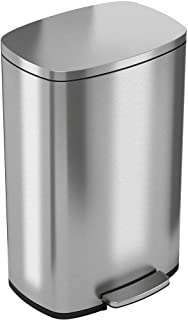 Best iTouchless SoftStep 13.2 Gallon Stainless Steel Step Trash Can with Odor Control System, 50 Liter Pedal Garbage Bin for Kitchen, Office, Home - Silent and Gentle Open and Close Reviews