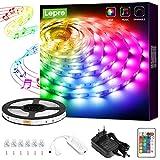 Lepro 5M tiras de luces RGB con música, tira LED Regulable 5050 SMD, 12V 24 teclas Cinta LED autoadhesivas, Strip Tiras Para TV, Fiestas, Dormitorio, fuente de alimentación y controlador incluidos