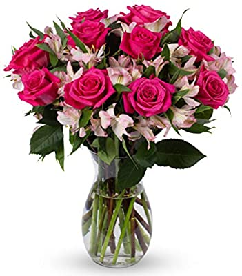 Benchmark Bouquets Charming Roses and Alstroemeria, With Vase (Fresh Cut Flowers) by Kendal Floral Supply Llc - Dropship