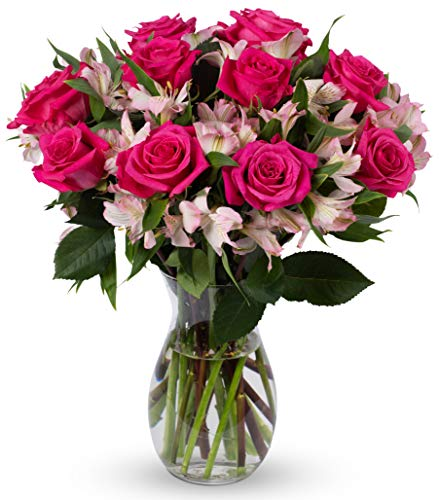 Benchmark Bouquets Charming Roses and Alstroemeria, With Vase (Fresh Cut Flowers)