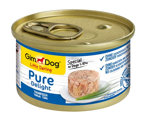 GimDog Pure Delight, atún - Snack para perros rico en proteínas, con pescado tierno en deliciosa gelatina - 12 latas (12 x 85 g) ⭐