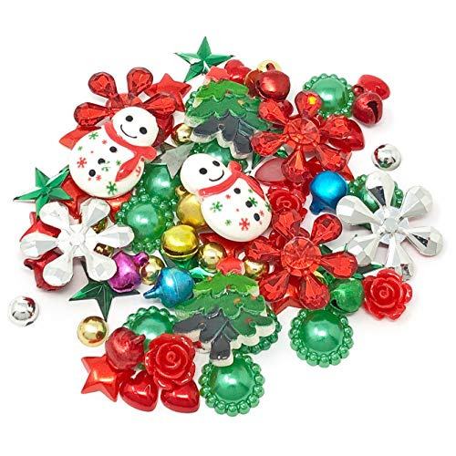 Wedding Touches 80 Mix Christmas Shabby Chic Resin Flatbacks Craft Cardmaking Xmas Embellishments
