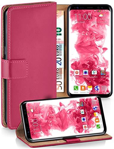 moex Premium Handytasche kompatibel mit Samsung Galaxy S8 - Klapphülle mit Kartenfach und Ständer, magnetische Handy Tasche - Flip Case Schutzhülle, Pink