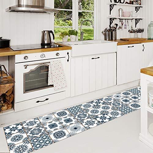 CREARREDA Tappeto cucina Summer Tiles 50x120 passatoia cucina antiscivolo, lavabile, ignifugo e antigraffio 100% Made in Italy