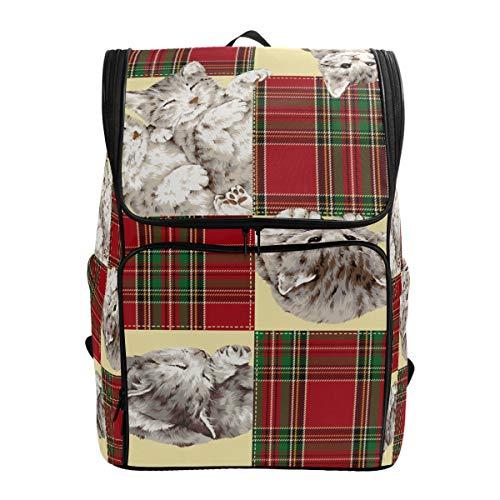 Emoya Cacual Rucksack aus Segeltuch mit Katzen-Motiv, Tagesrucksack, Reisetasche, Schulranzen für Teenager, Mädchen, Jungen, Frauen