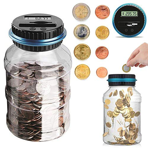 Houkiper Digital Coin Bank Jar Coin Counter Storage, 1.8L Coin Piggy Saving Bank, Money Saving Box Jar Bank with LCD Battery Coin Counter for Kid Adult Boy Girl As Unique Gift