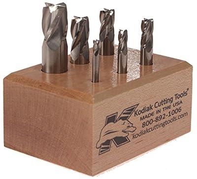 "Kodiak Cutting Tools 2A-8943-0S4O USA Made Micrograin Carbide End Mill Set, 1/8"" to 1/2"", 4 Flute (Pack of 6)"