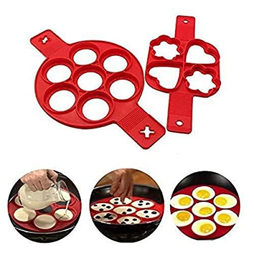 U&X Pancake Form Omelette aus Antihaft Silikon,Ring Pfannkuchen Former, Pancake Maker BPA-Frei, Lebensmittelechtes Silikon