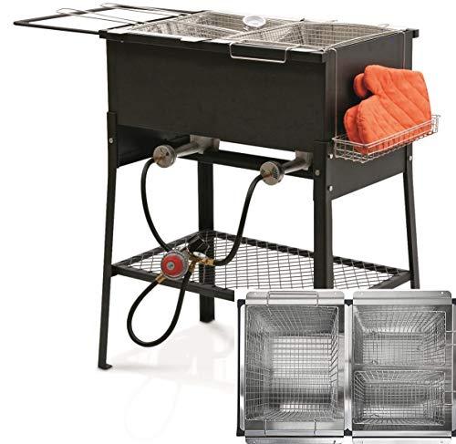 Triple 3 Basket Deep Fryer-Stainless Steel Propane Burner Cooker-Fry Oil Big Tank 6.3 Gallon Cap