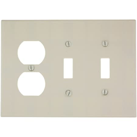 Leviton 80521 T 3 Gang 2 Toggle 1 Duplex Device Combination Wallplate Midway Size Light Almond Switch And Outlet Plates