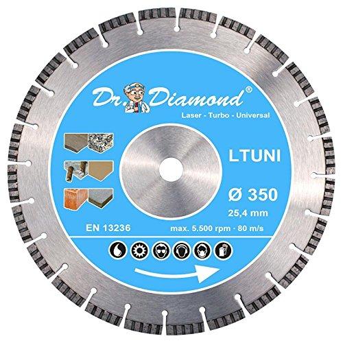 Dr. Diamond Laser Diamanttrennscheibe Turbo 10 mm Universal 1x 350 mm Bohrung 25-4 mm
