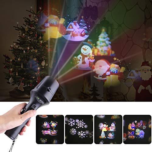 Yodeace 2ème Génération LED Projecteur Lumière Noël avec des Images Dynamiques et Statiques, Halloween Projecteur Torche avec Trépied pour Fêter Halloween, Noël, Anniversaire, Flocon de Neige