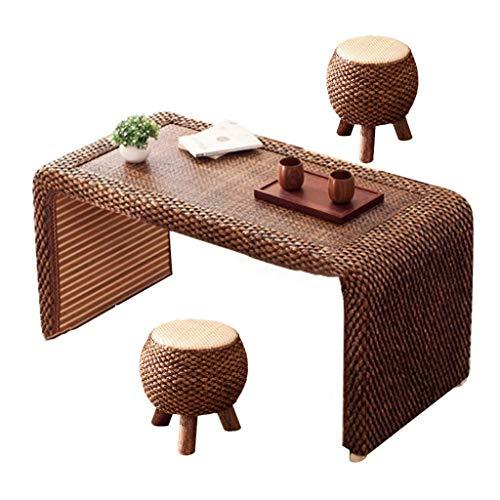 Tavolini da caffè Stile Giapponese Tatami Tavolo da tè in Rattan E Sedia Tavolo da tè da Bere Color Noce Stile Mid-Century Tavolino (Color : Brown, Size : 80 * 50 * 50cm)