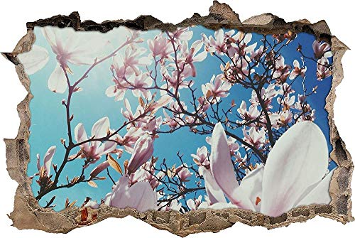 Tatuaje de pared en 3D agujero de la pared Sticker Pegatina Adhesivo Calcomanía Decoración para dormitorio o la sala de estar,hermosas flores de magnolia en la luz del sol 50x75cm